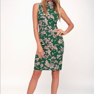 Pink and Green Floral Print Sleeveless Dress